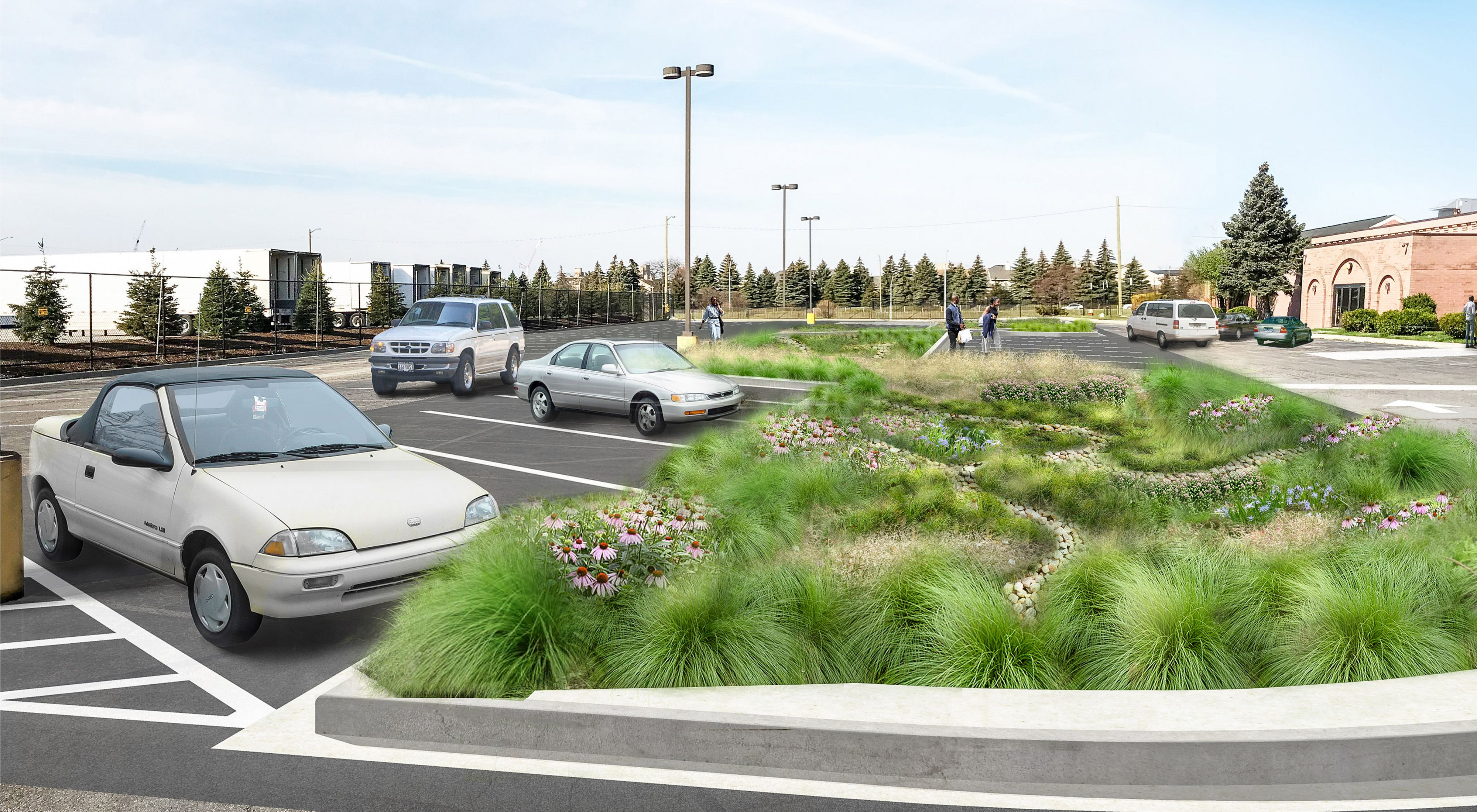 Computer rendering of a church parking lot with rain garden and bioswales.