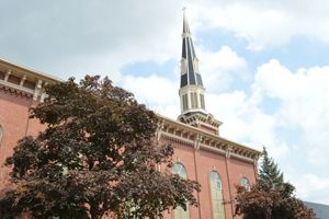 A view of the steeple at Sacred Heart Church in Detroit