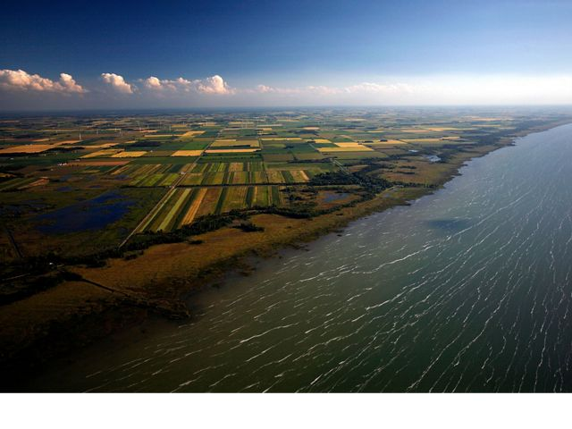 Aerial view of farmland around Saginaw Bay, Michigan, where TNC is working with farmers and companies to reduce runoff in the Great Lakes.