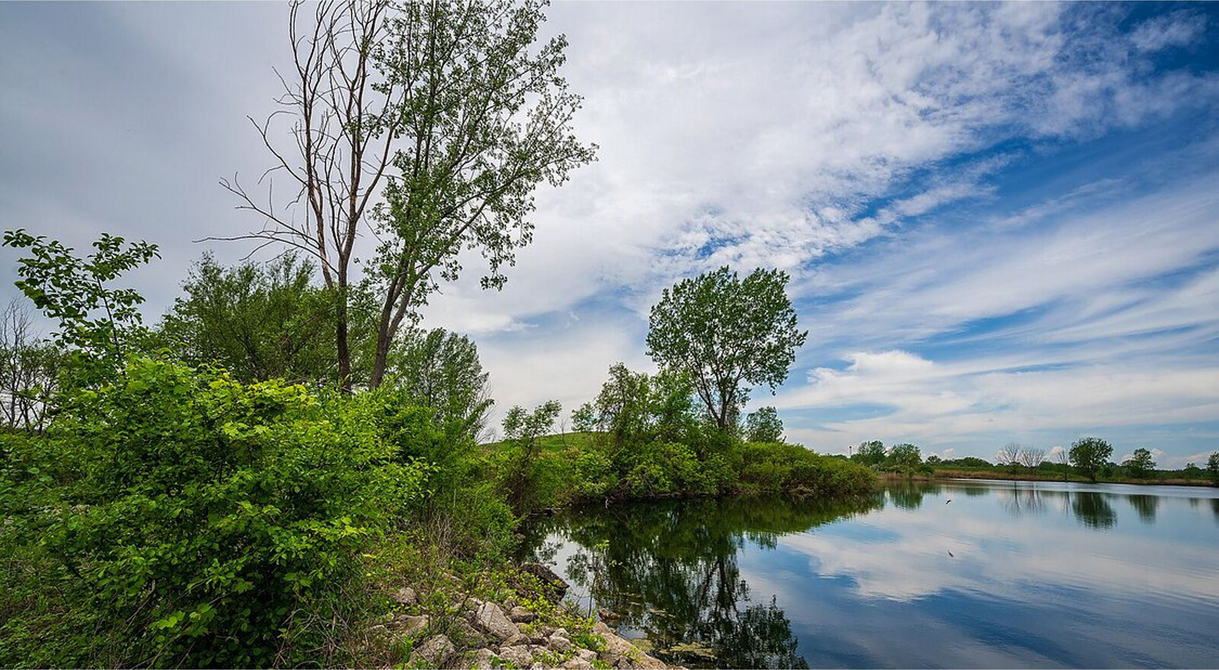 Rocky shoreline and green foliage along the banks of the Saginaw River under a blue sky.