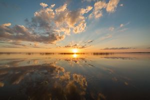 Sunset and clouds over the Saginaw Bay