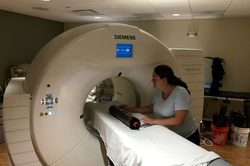 Scientist Nicole Maher places a salt marsh sample in a cat scan machine.