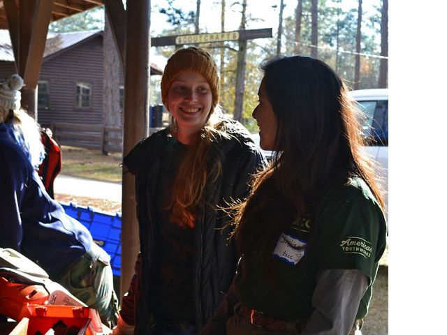 Sarah Vande Brake and Christina Vallin prepare for the day during their GulfCorps experience.