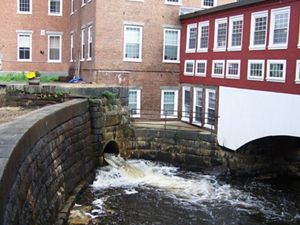 The upper dam on the Bellamy River at Sawyer Mills in Dover, NH.