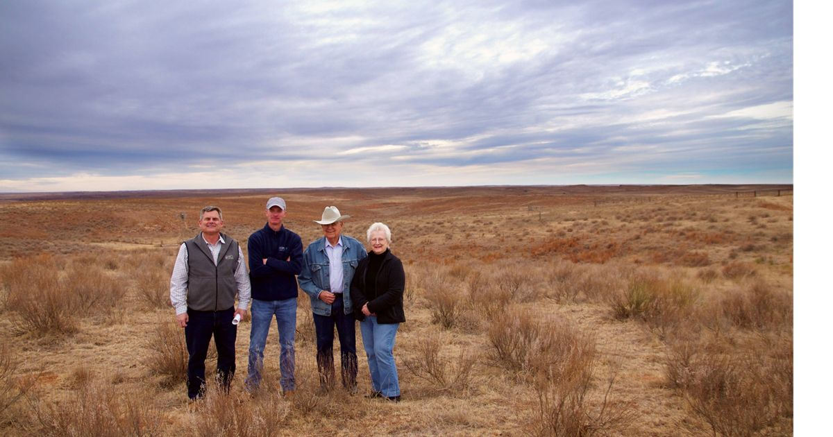 Gary O'Neill (NRCS), Chris Hise (TNC), Paul and Jackie Seeley at the Seeley Ranch in western Oklahoma.
