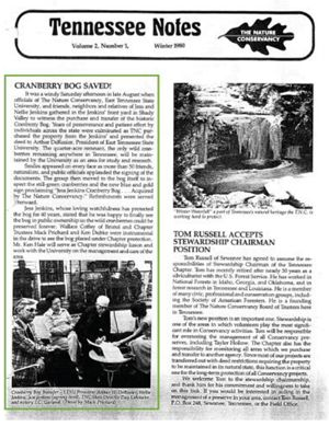 A vintage TNC chapter newsletter includes an article about Orchard Bog.