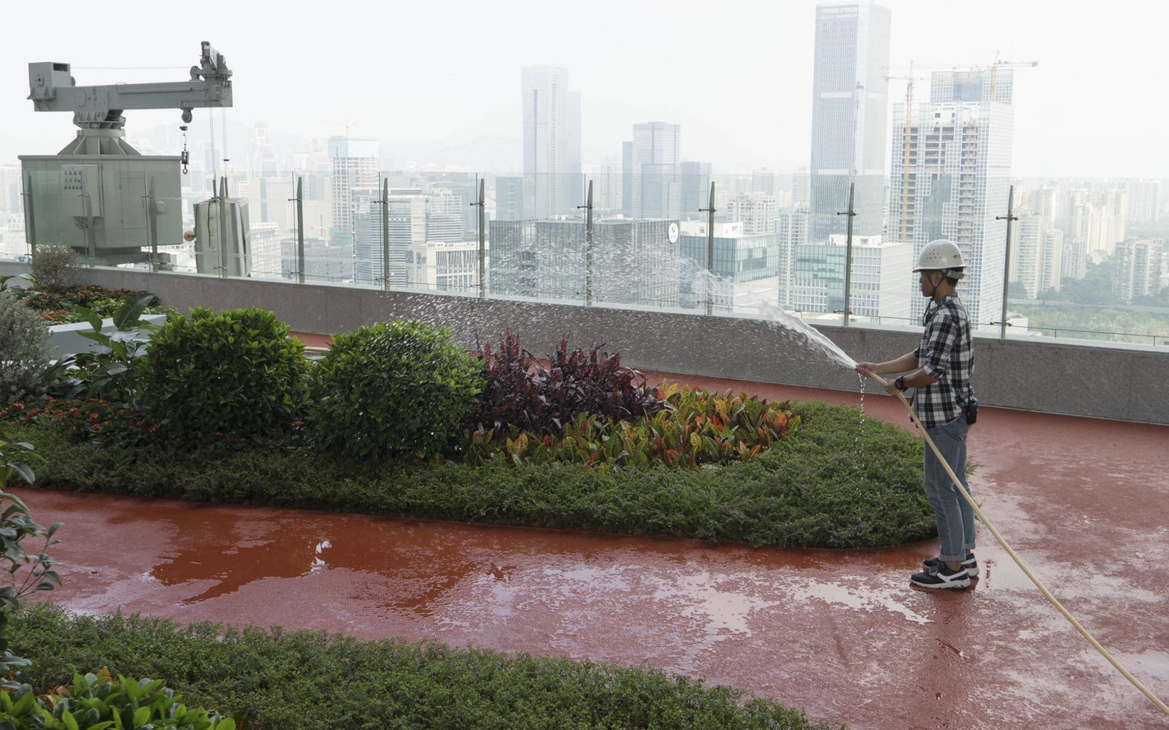 An employee waters the rooftop garden on the rooftop garden on the Tencent Binhai towers in Shenzhen, China.