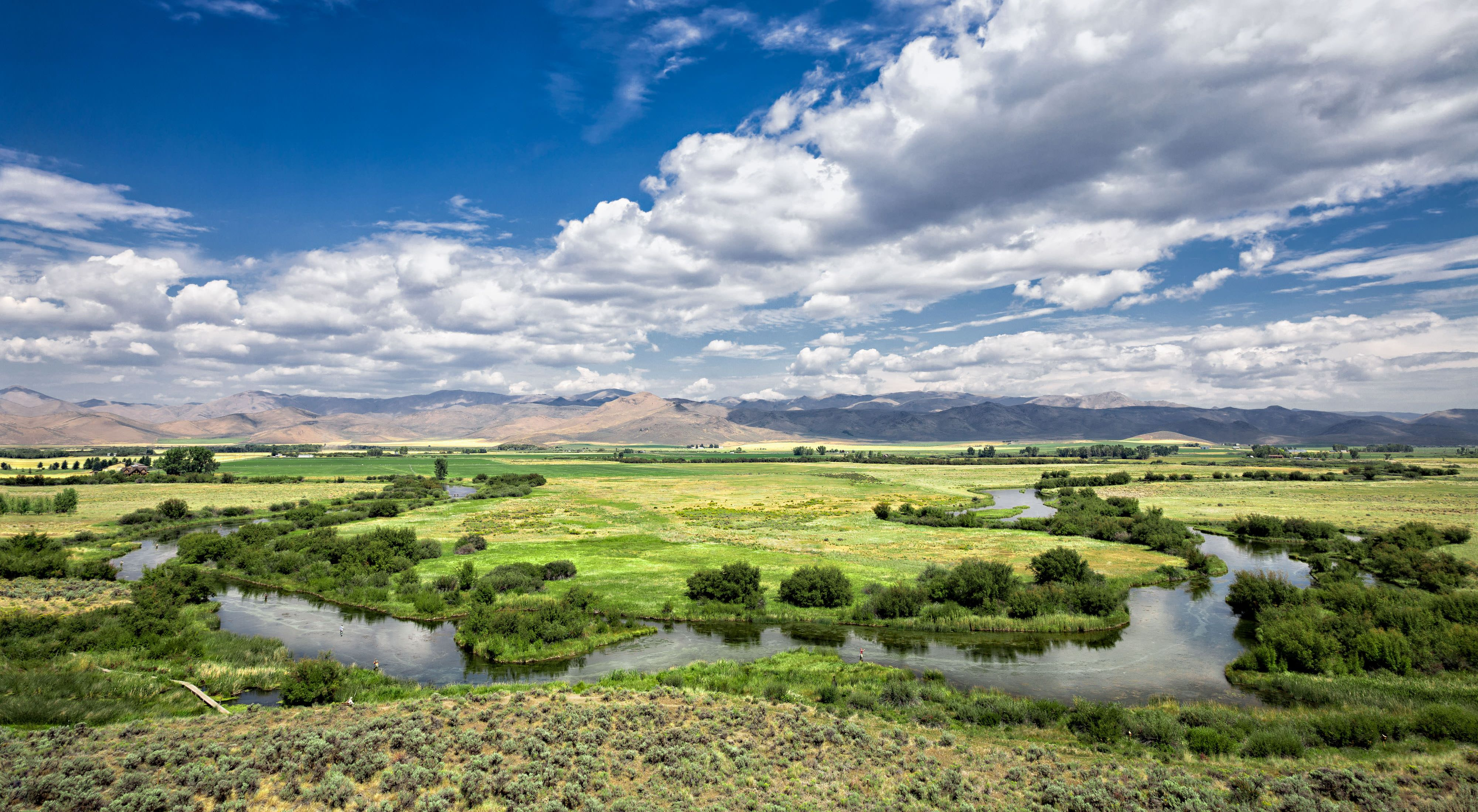 Silver Creek meanders through fields with mountains in the distance.