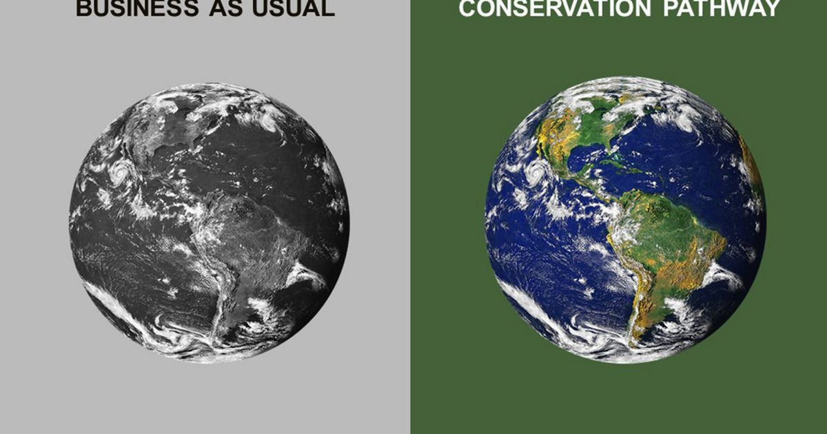 split image of a black-and-white planet earth and color
