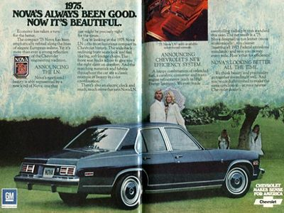 Image of 1974 advertisement of a Chevrolet Nova car in