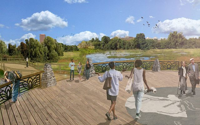 A rendering sketch of groups of people enjoying a wide, open boardwalk at a new wetland park.