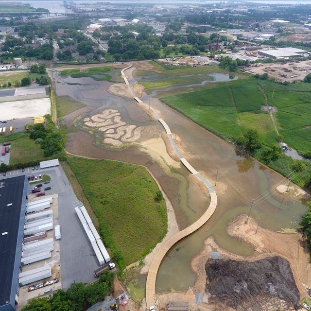 Aerial view of a public greenspace under construction.