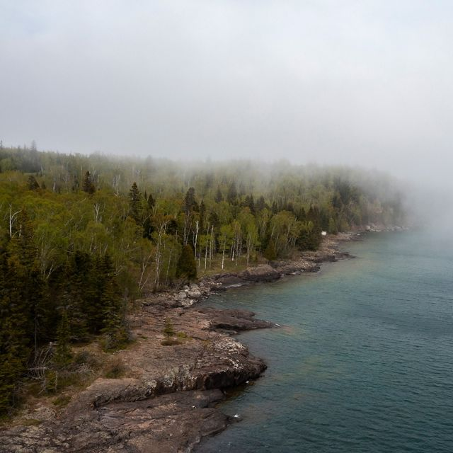 View of Lake Superior from Split Rock Lighthouse State Park in northeastern Minnesota.
