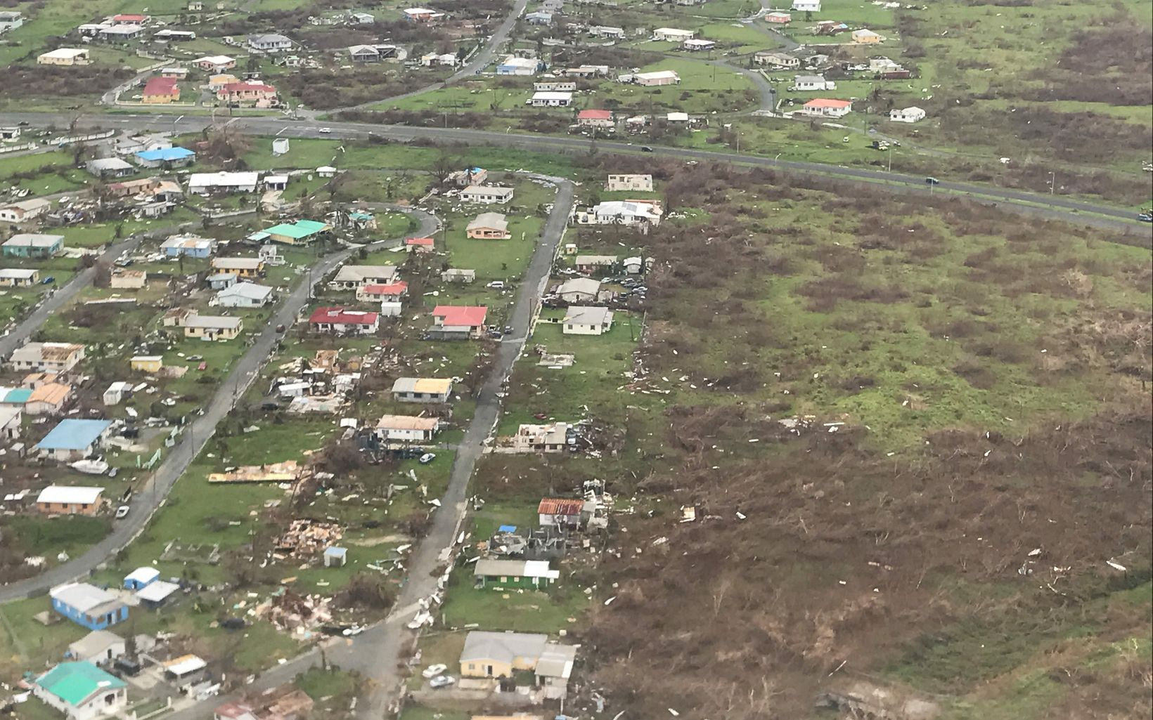 Destroyed homes St. Croix, U.S. Virgin Islands after Hurricane Maria