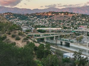 Buildings and roads on the urban hillsides of Northeast Los Angeles.