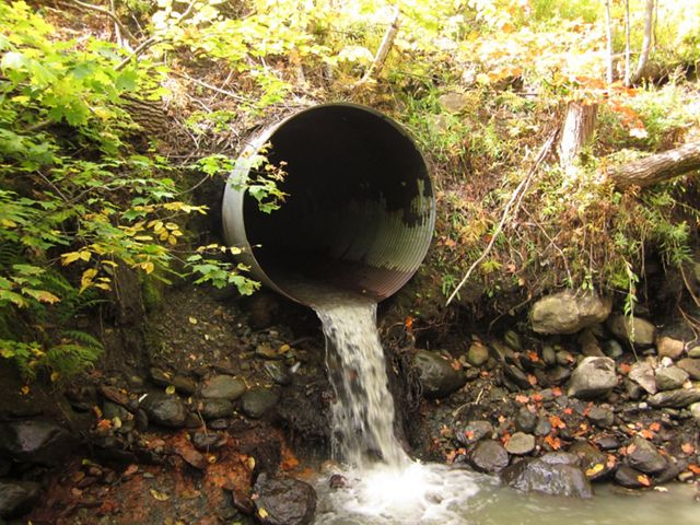 Water flows through a large pipe into a creek.