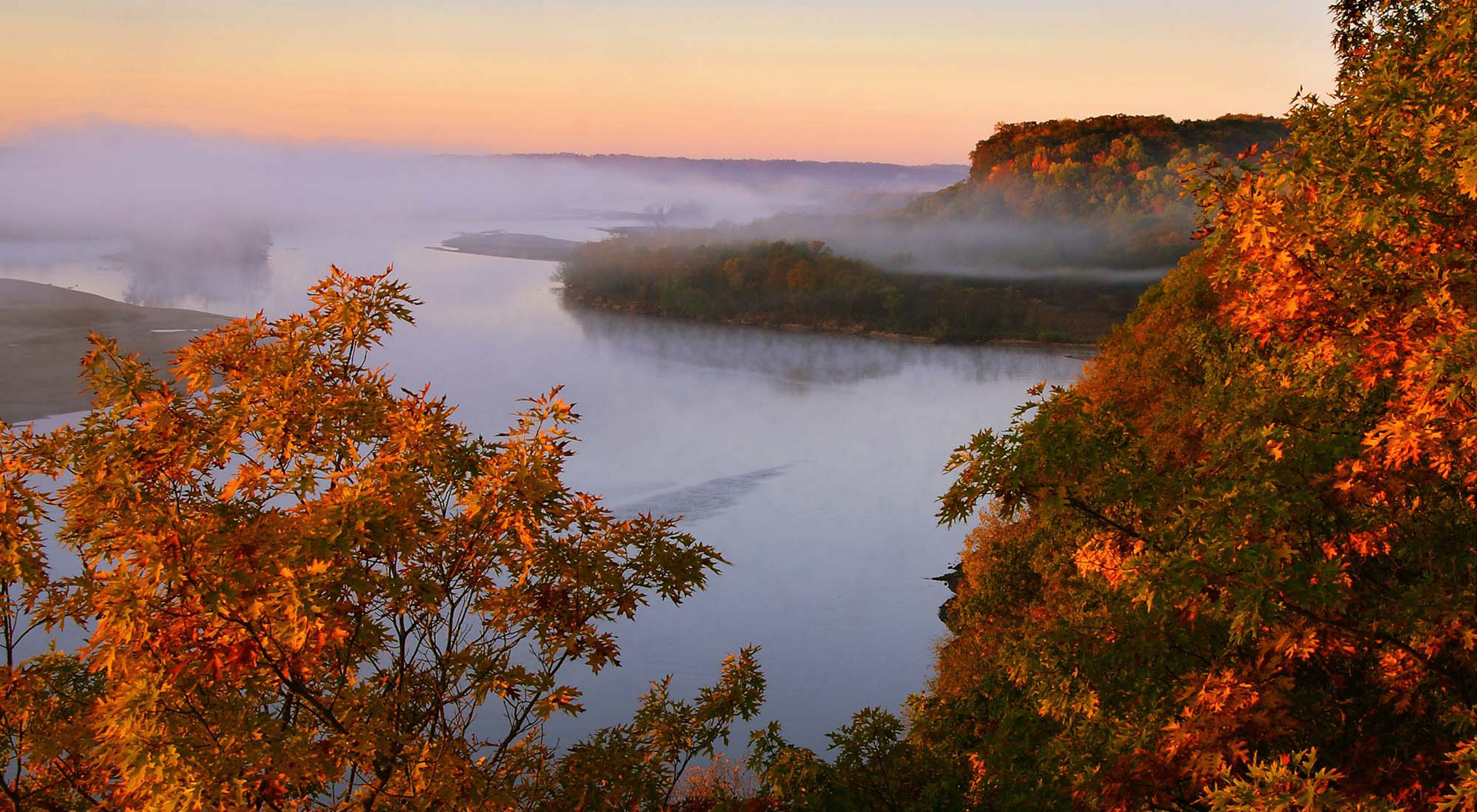 Sunrise lights up the fall colors of the oak trees in the foreground with a fog-covered river and forested bluffs in the background.