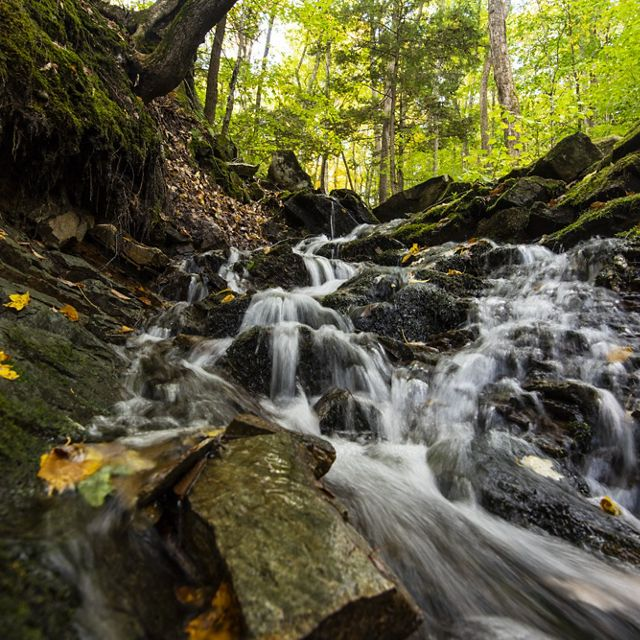 One of the waterfalls at Surry Mountain Preserve in Surry, New Hampshire