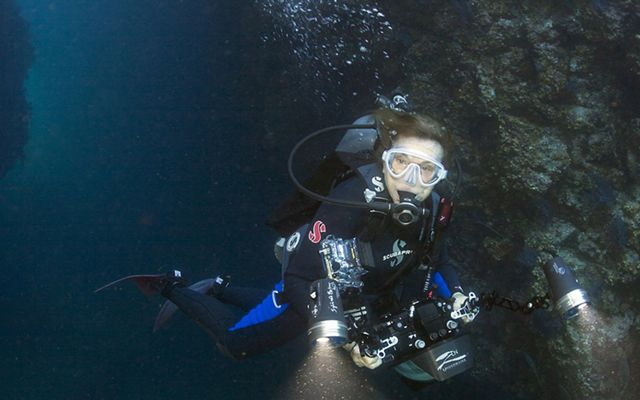 Sylvia Earle explores a sea cave.