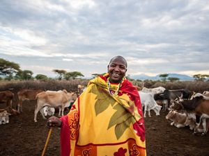 pastoralist smiling at camera