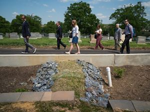 May 7, 2018. An event was held to publicly announce the completion of the stormwater retention project at Mt. Olivet cemetery. It included a private tour led by TNC Urban Conservation Program Director Kahlil Kettering for Archbishop of Washington, DC Cardinal Donald Wuerl, Nature Conservancy CEO Mark Tercek, CEO of Catholic Cemeteries of the Archdiocese of Washington John Spalding, ans Tommy Wells, Director of of DC Department of Energy and Environment (red cap).