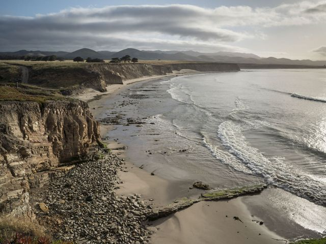 TNC's Dangermond Preserve, California. Early morning, looking east towards Percos from fields above Government Beach.