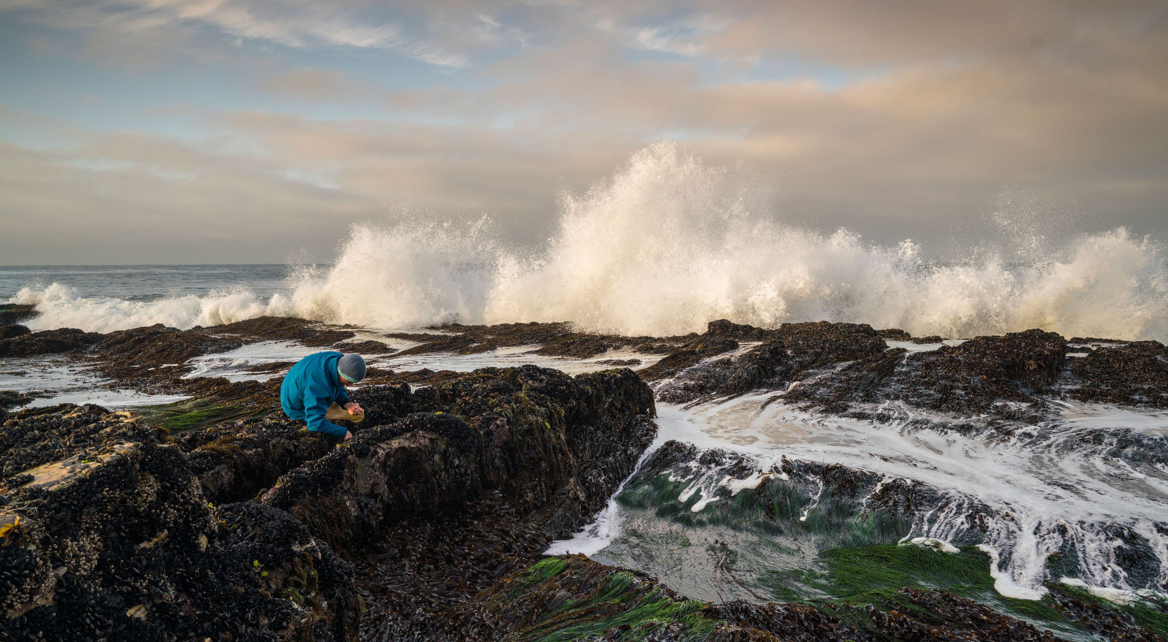Waves crash nearby as a man explores a rock near shore