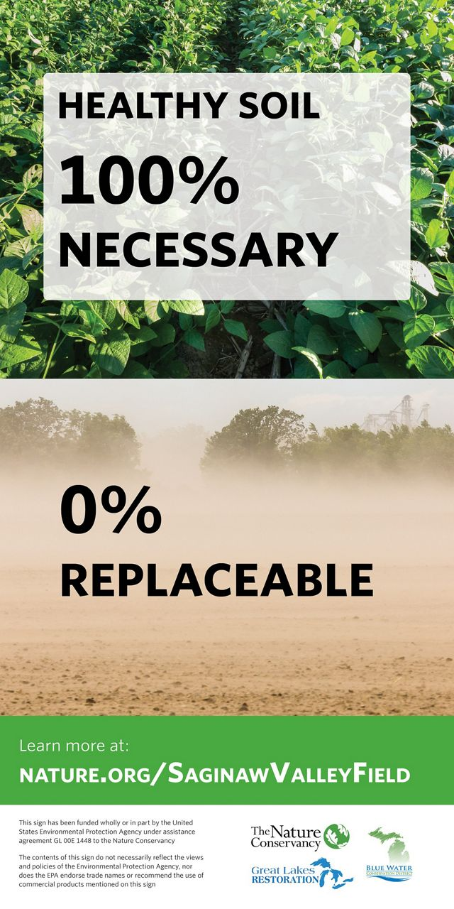 "A graphic reading ""Healthy Soil: 100% Necessary/0% Replaceable."""