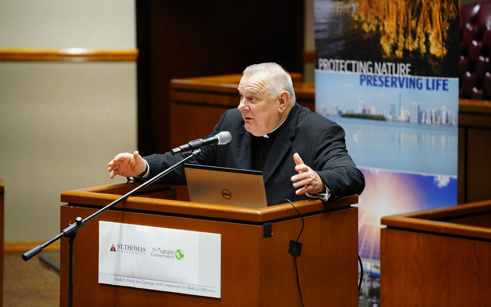The Archbishop of Miami, addresses the conference attendees.
