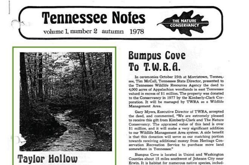 The front page of an old TNC newsletter.