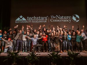 Group photo of the 10 startups of the Techstars Sustainability Accelerator at Demo Day 2019.