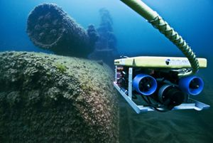 An underwater photo of a shipwreck in Lake Huron