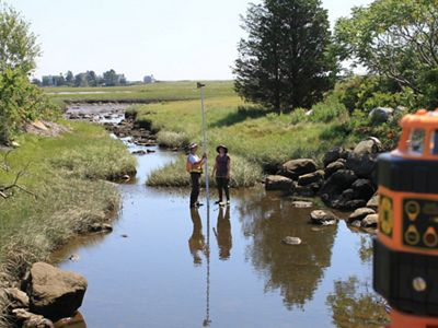 Workers take measurements in a tidal stream.