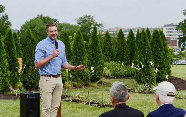 Maryland/DC Executive Director Tim Purinton speaks during memorial greenspace dedication at Mt. Olivet Cemetery, June 8, 2019.