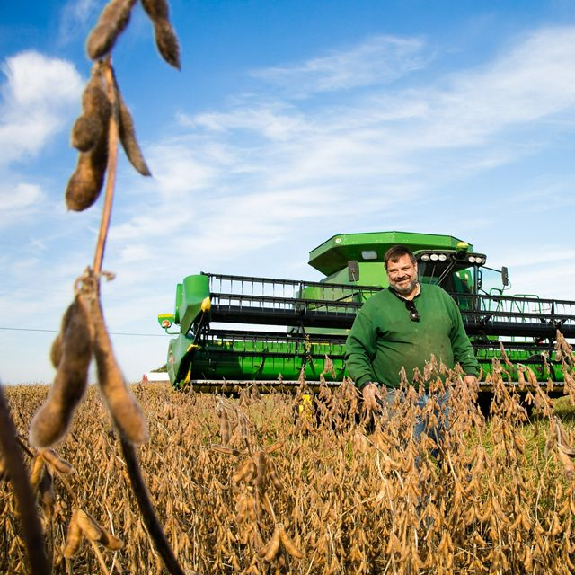 Todd Hesterman with his combine in one of his fields.