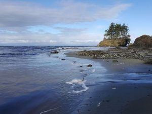 In the Salt Creek Recreation Area on the north coast of the Olympic Peninsula, Tongue Point is a popular spot for surfers, tide pool explorers, and beach walkers.