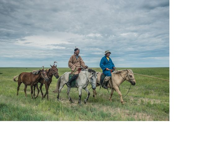 Herders ride on horses on the grassland steppe of Eatern Mongolia's Tosonhulstai Nature Reserve.