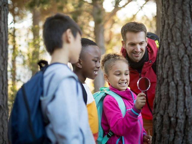 Children and adult examine a tree.