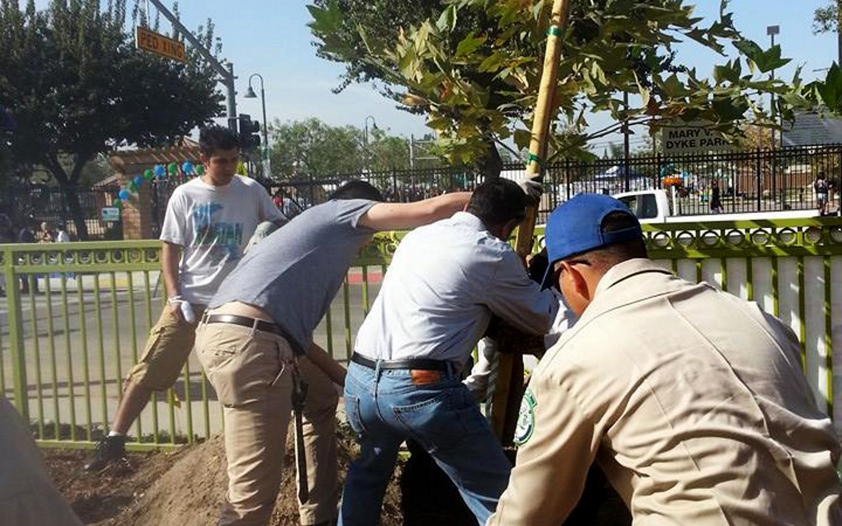 Volunteers help plant trees in Los Angeles at a 2013 event organized by Odwalla and The Nature Conservancy.