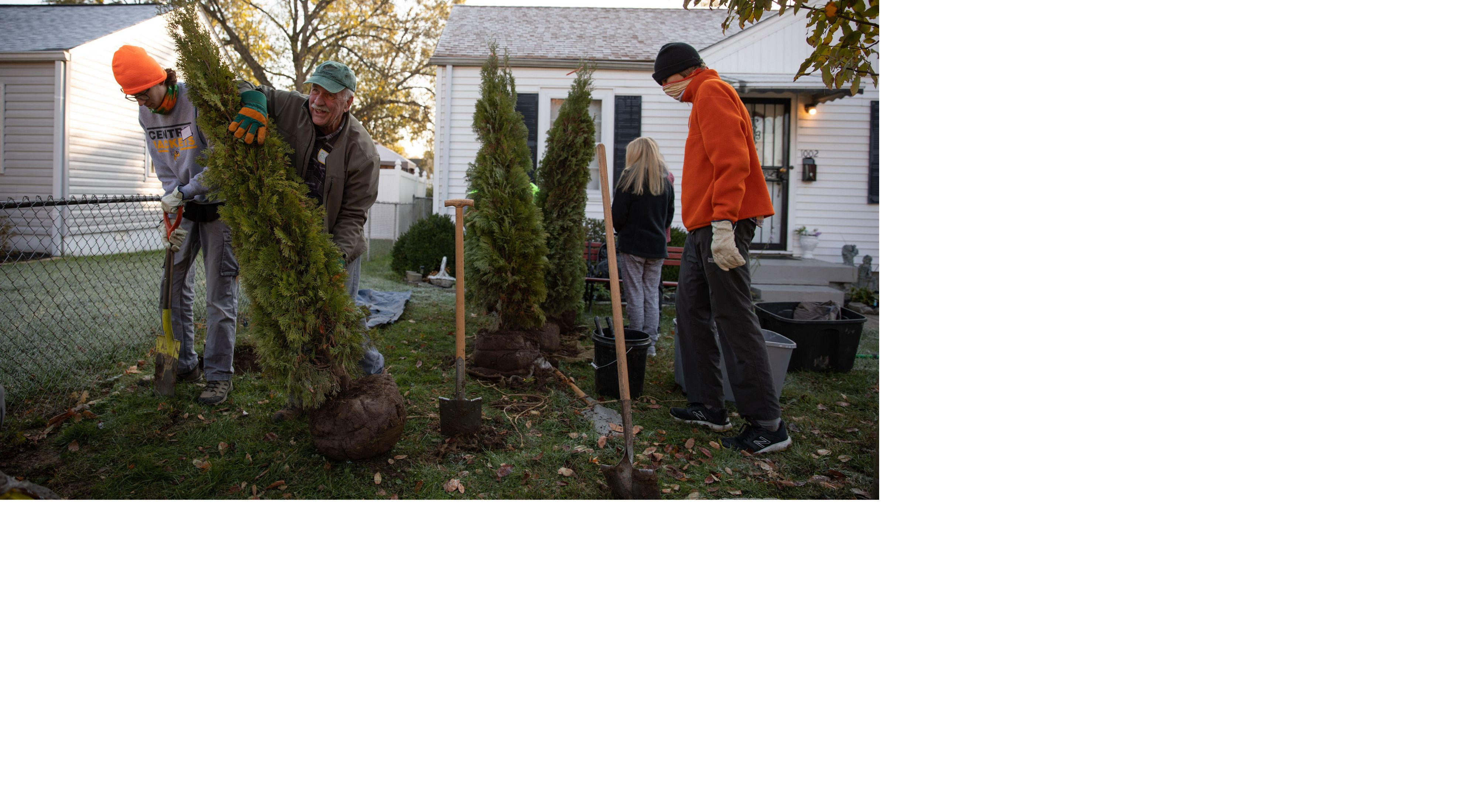 A group planting trees in a residential area.