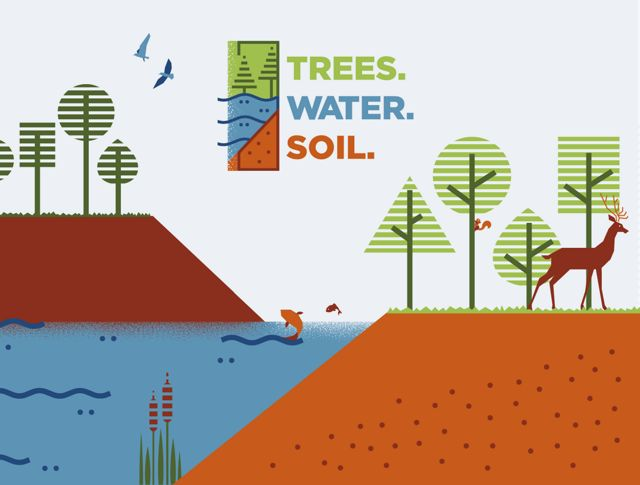 Illustration of birds, fish, squirrels and deer among the trees, water and soil with Trees. Water. Soil. logo overlay.