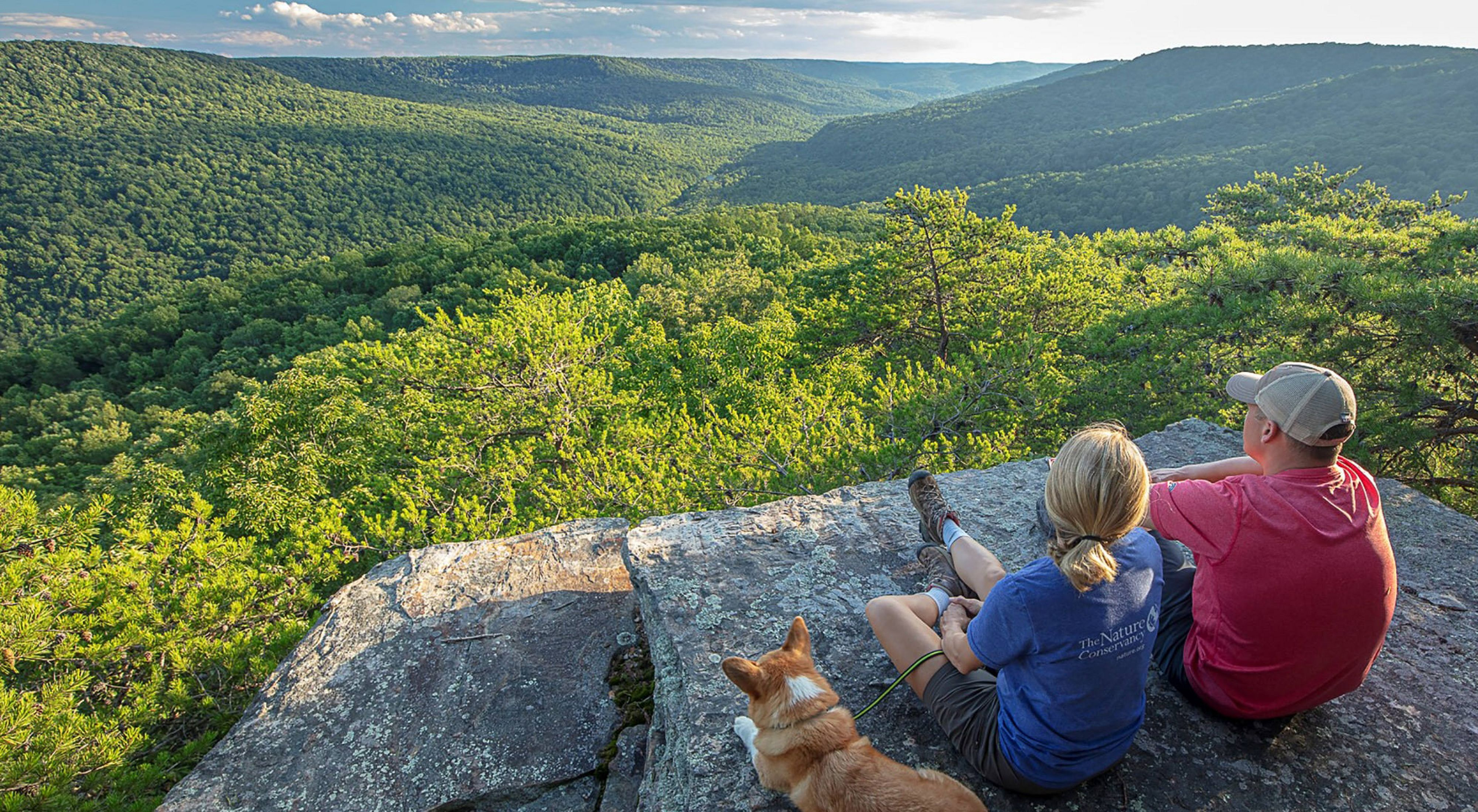 Two people sit on a rocky outcrop to enjoy a view of a forested valley.