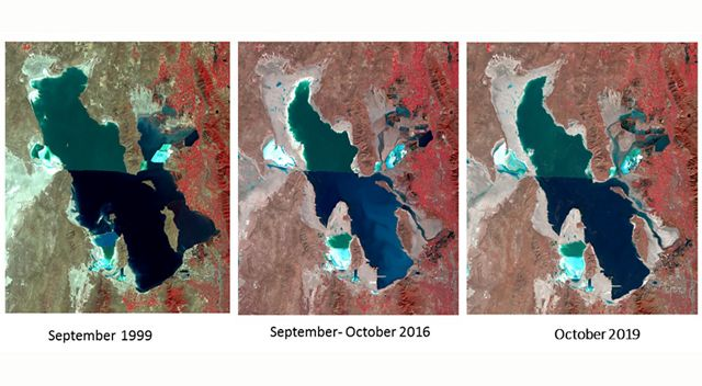 Three satellite maps showing water levels lowering over the years.