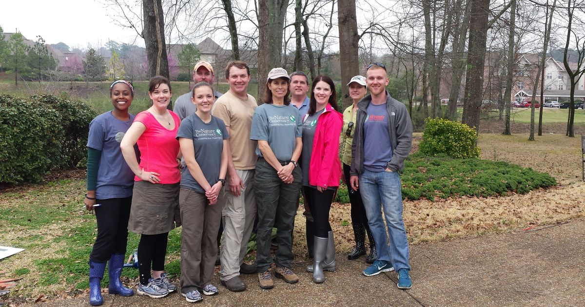 Volunteers and staff contribute to urban conservation efforts in Vestavia Hills, Alabama.