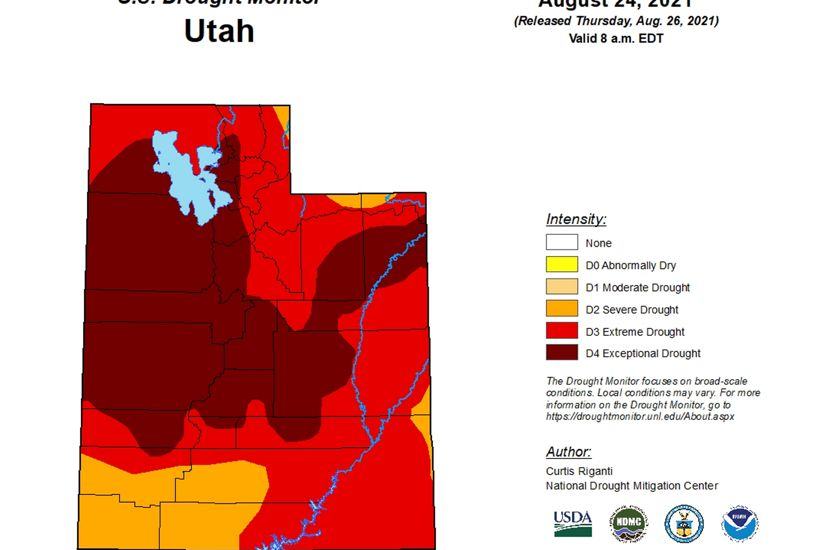 A drawing og Utah showing various drought levels with the entire state in some sort of orange or red color showing that all of Utah is in a drought.