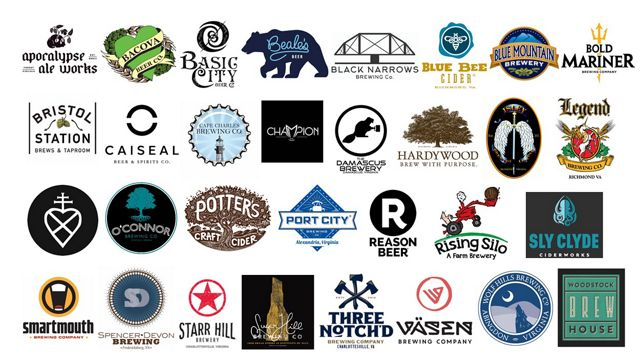 Logo collage of participating OktoberForest brewers in VA