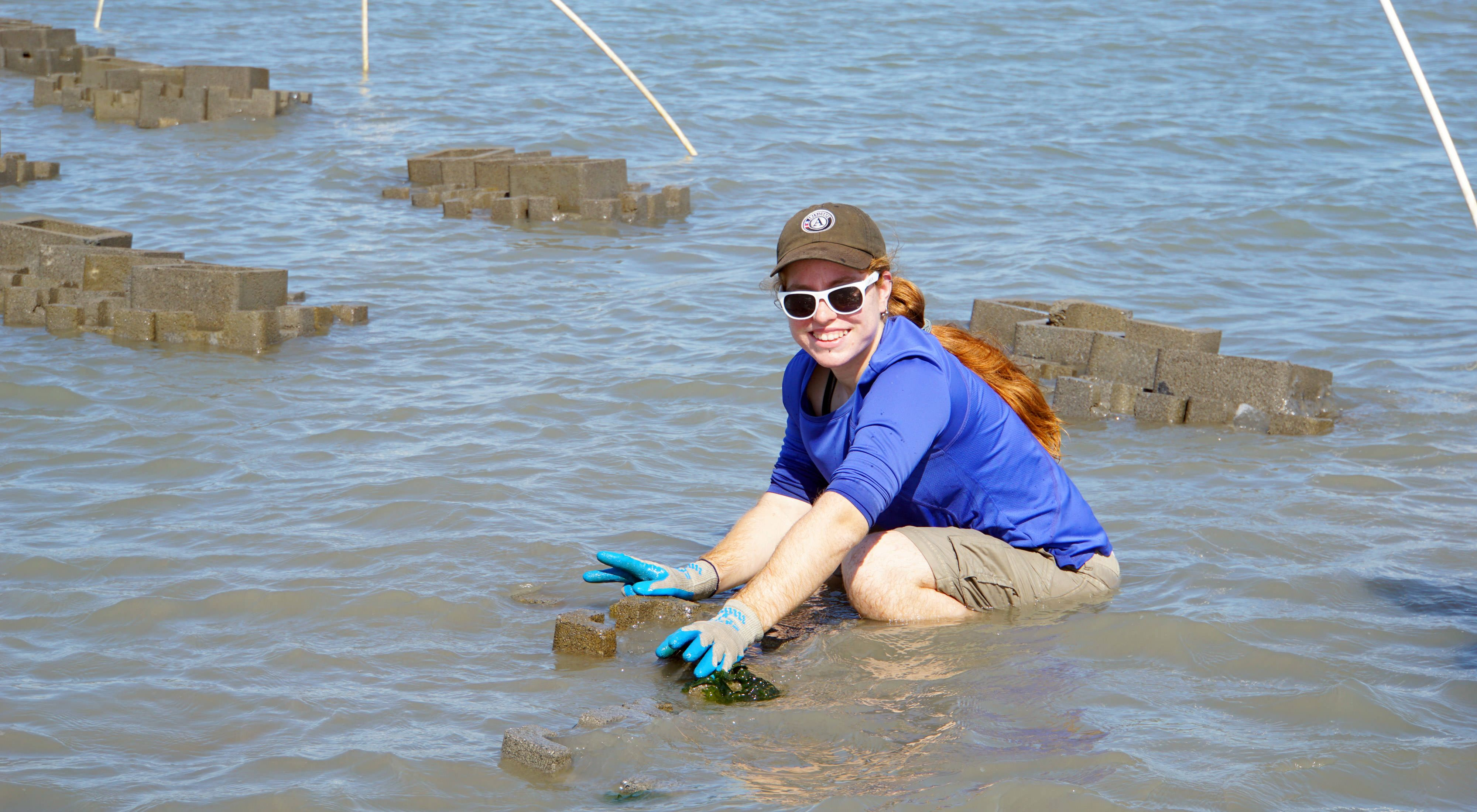 A smiling woman crouches in shallow water near an array of oyster castles, large square blocks of interlocking concrete used to build oyster reefs. The reefs are placed in narrow clusters behind her.
