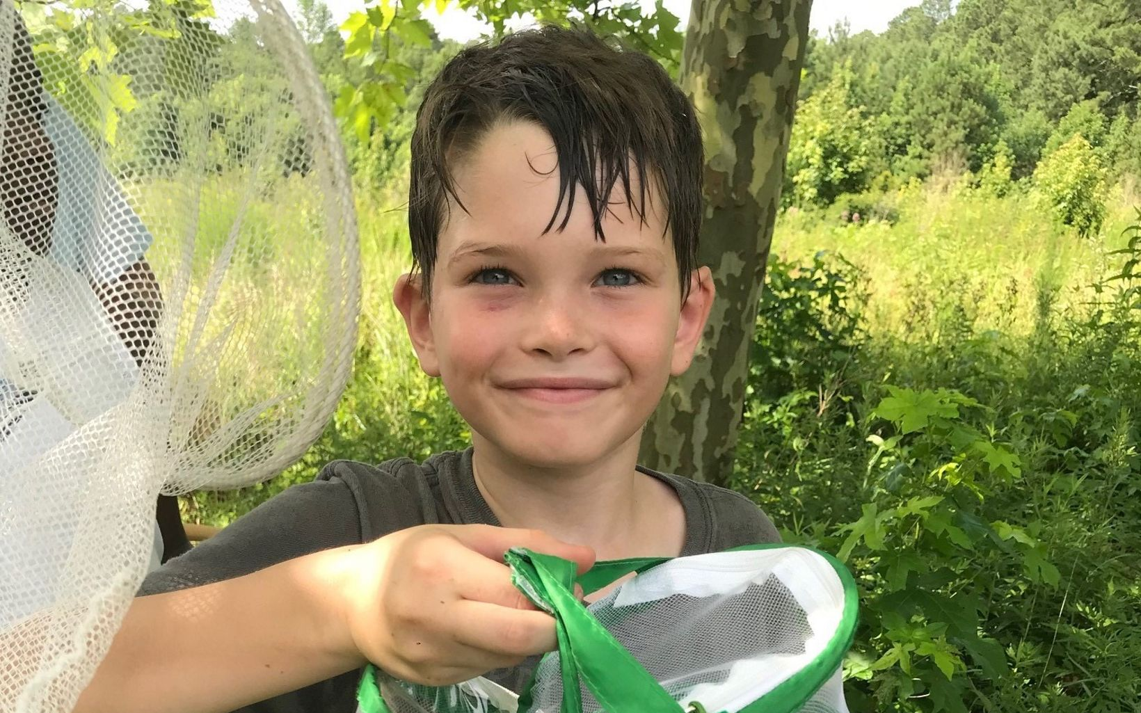 A boy holds up a butterfly trap showing what he has collected.