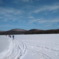Vermont winter scene of skiing field trip at Barr Hill Natural Area