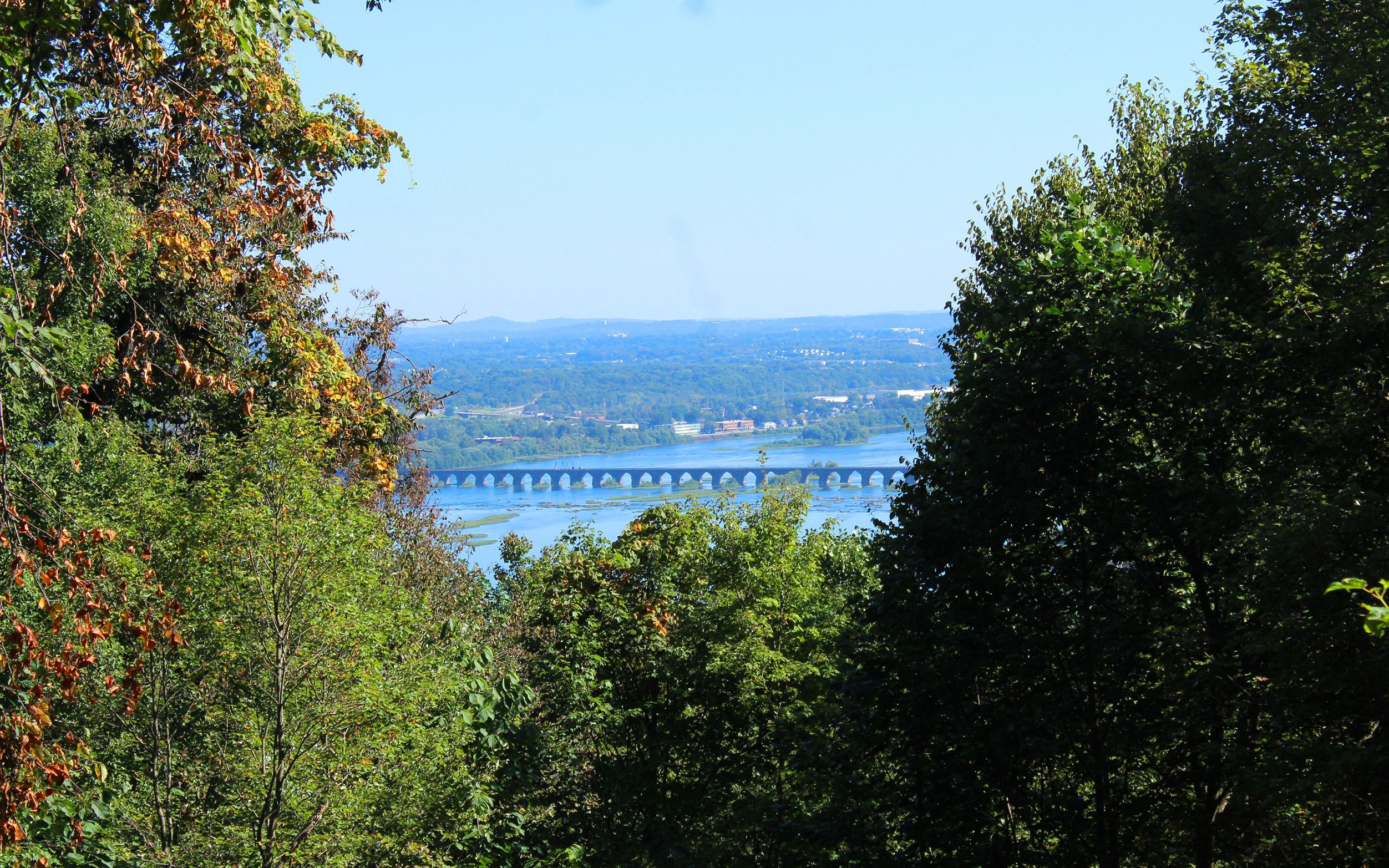 View of the Susquehanna River from a trail on Cove Mountain. A break in the center of a stand of trees reveals a bridge crossing the wide river with buildings behind.
